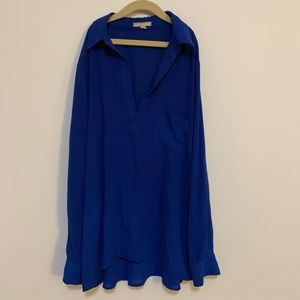 Pleione Royal Blue Long Sleeve Blouse
